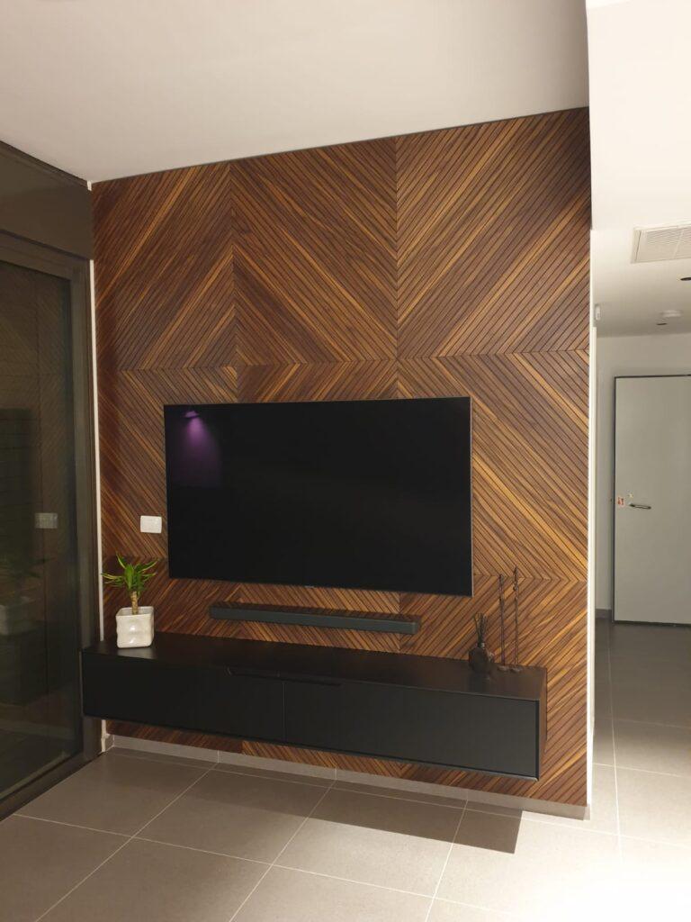 חיפוי עץ קיר טלוויזיה